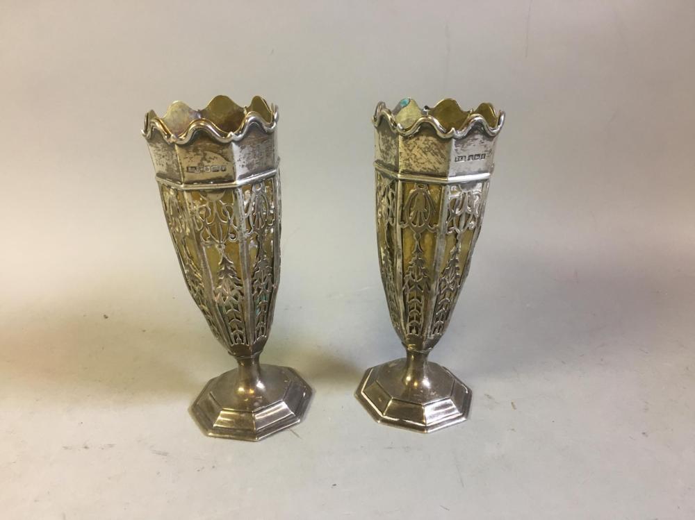 Antique English Sterling Robert & Belk Vases