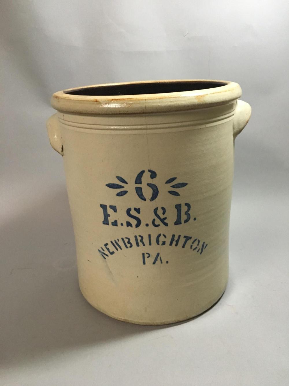 E.S. & B. New Brighton, PA Crock, 6 Gallon