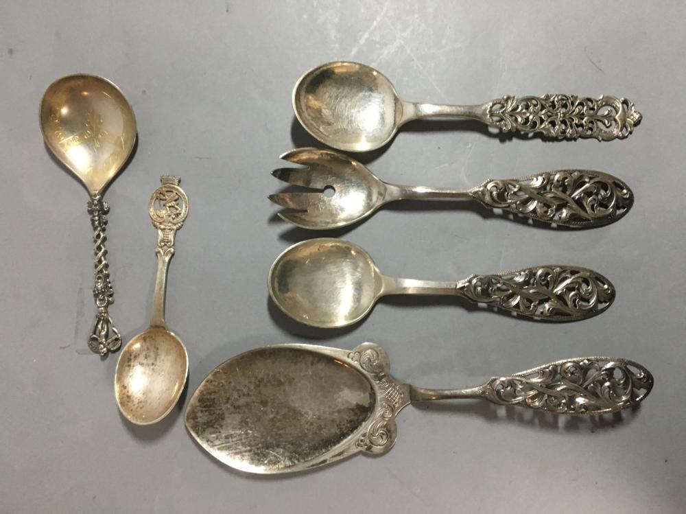 Six Norwegian Sterling Silver Serving Spoons & Fork