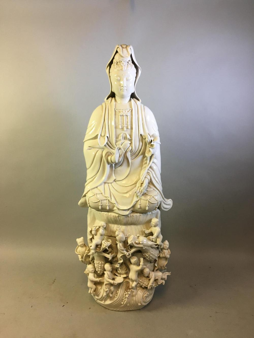 Large Chinese Blanc-De-Chine Guanyin Figure
