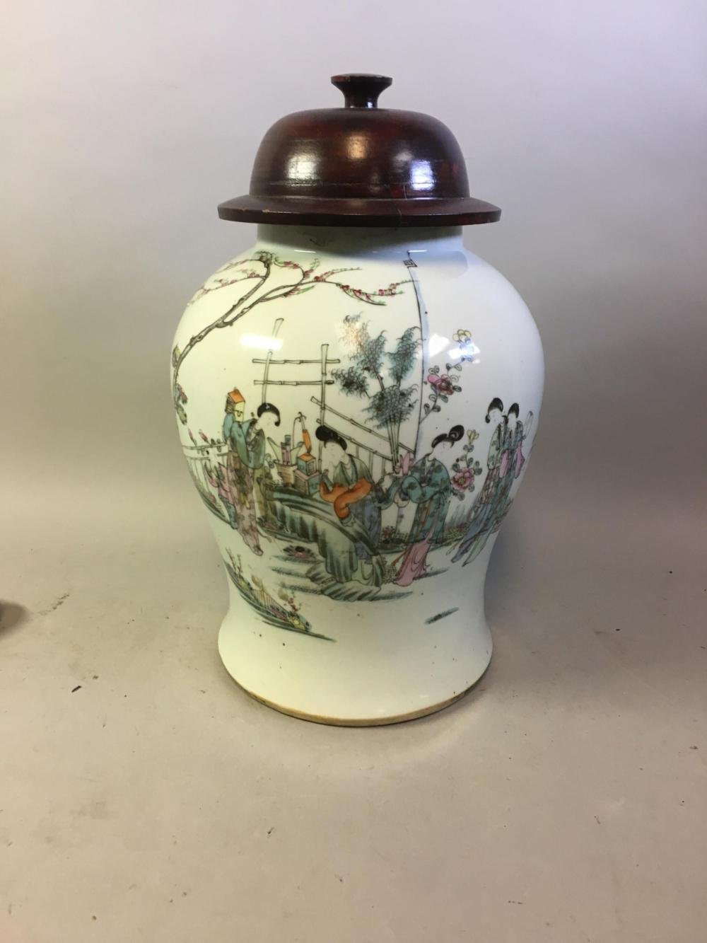 Large Chinese Hand Painted Celadon Jar w/ Wood Lid