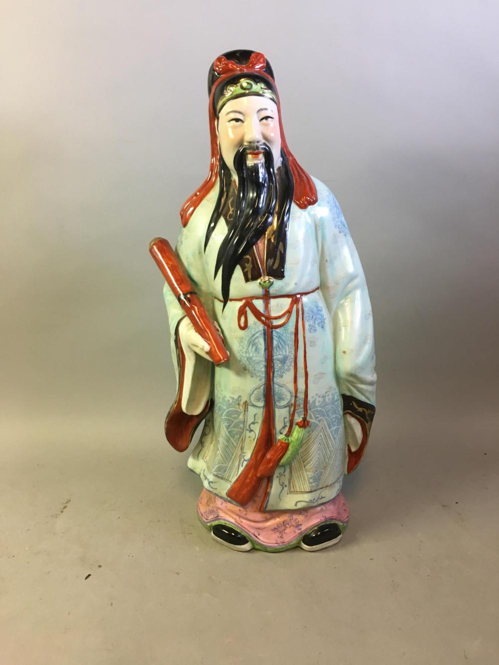 Large Chinese Porcelain Painted Sanxing Figure