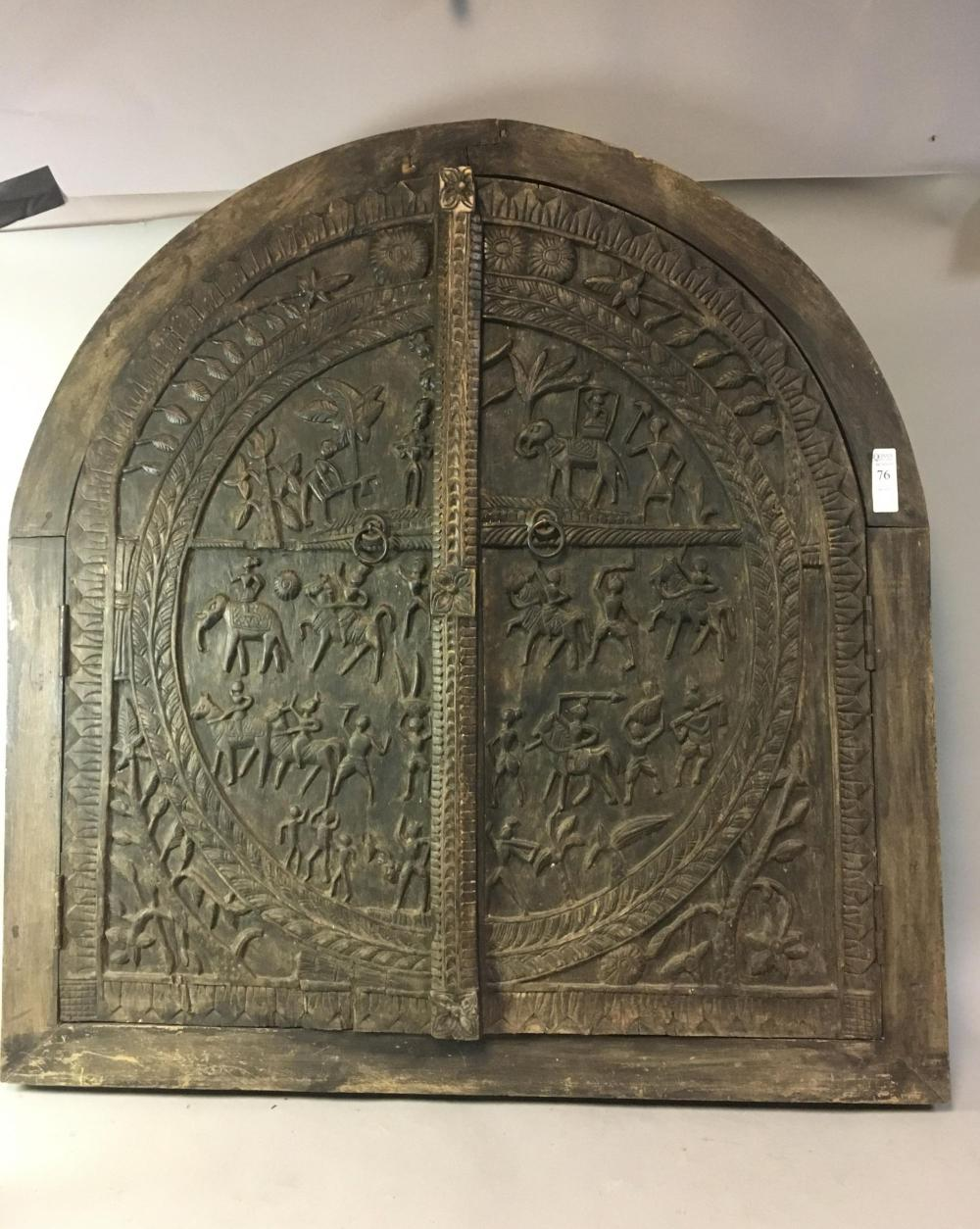 Large South East Asian Carved Wood Door