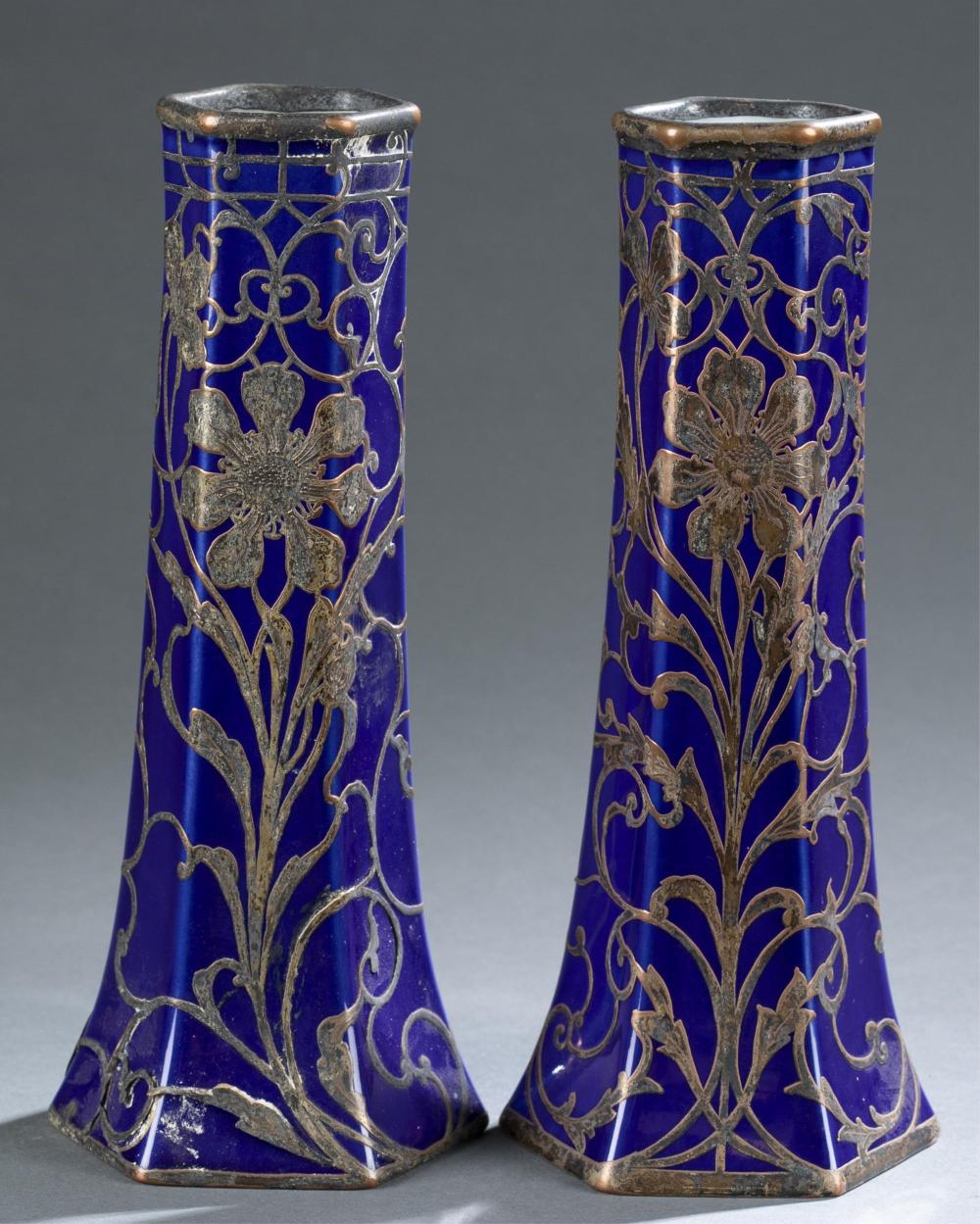 2 Silver overlay blue glass vases, 19th.20th c
