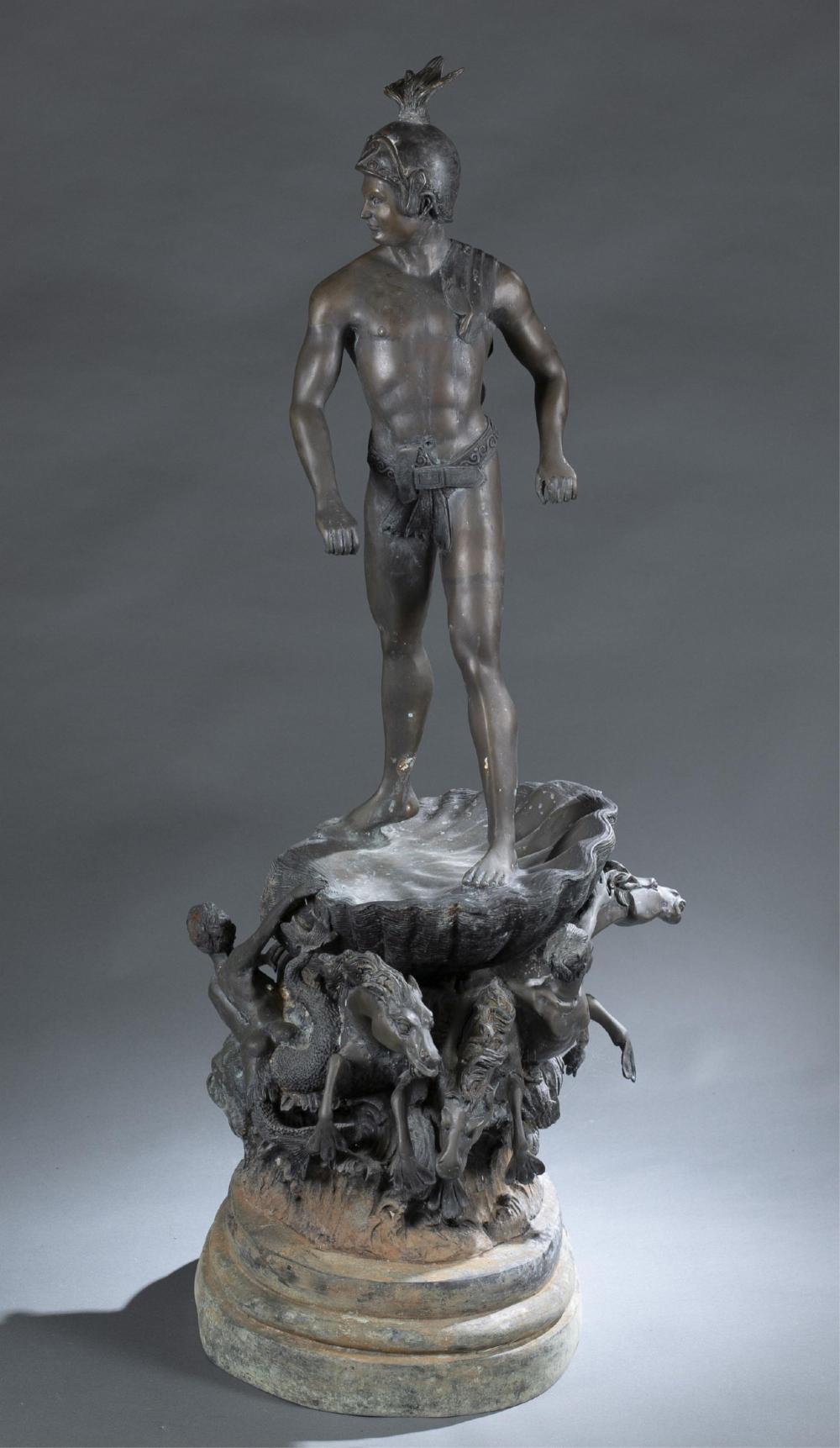Bronze statue of a Greek warrior.