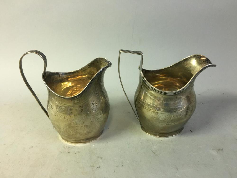 Two Georgian London Sterling Silver Creamers