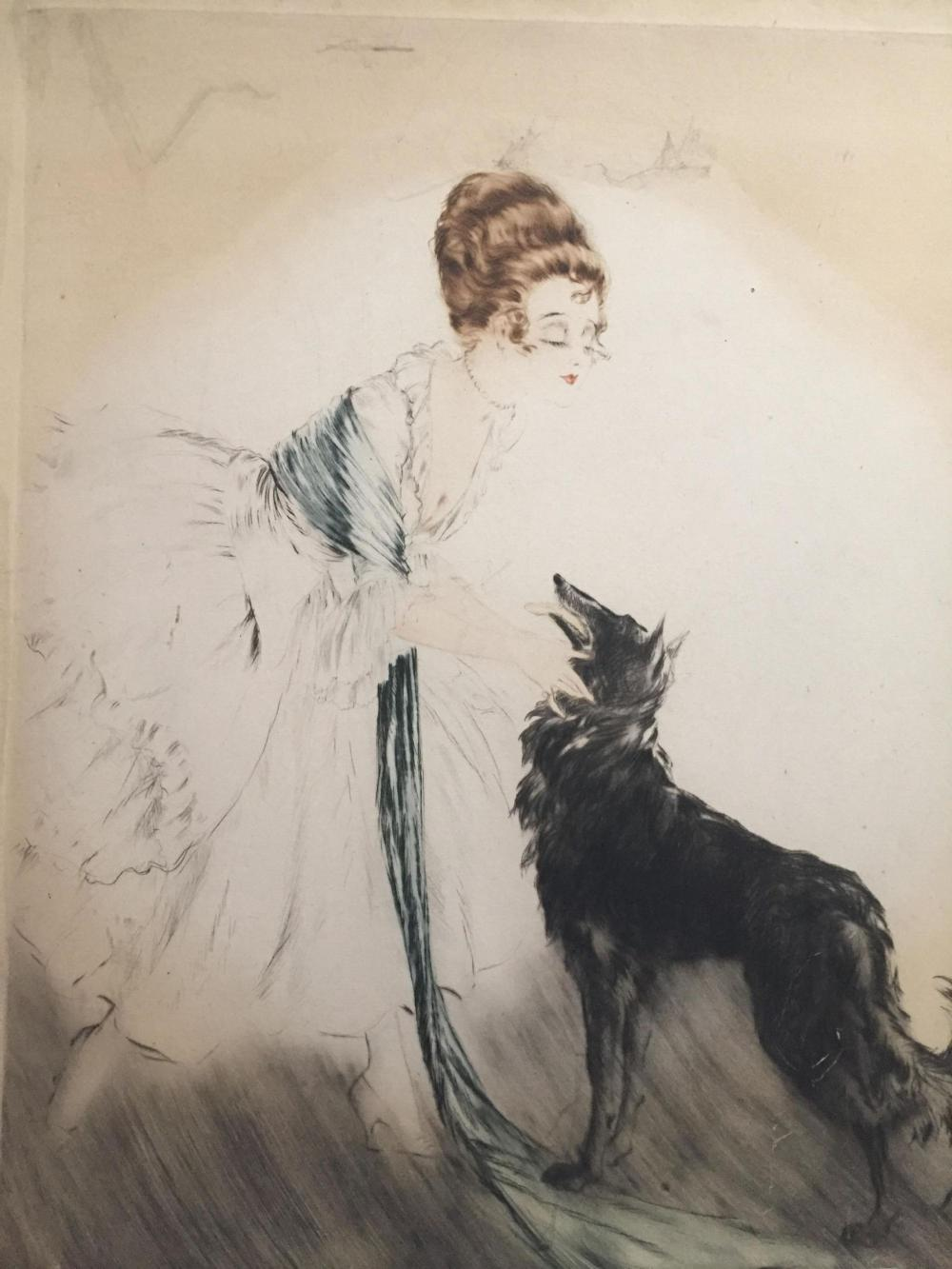 In Style Of Icart- Hand Colored Print Of A Woman.