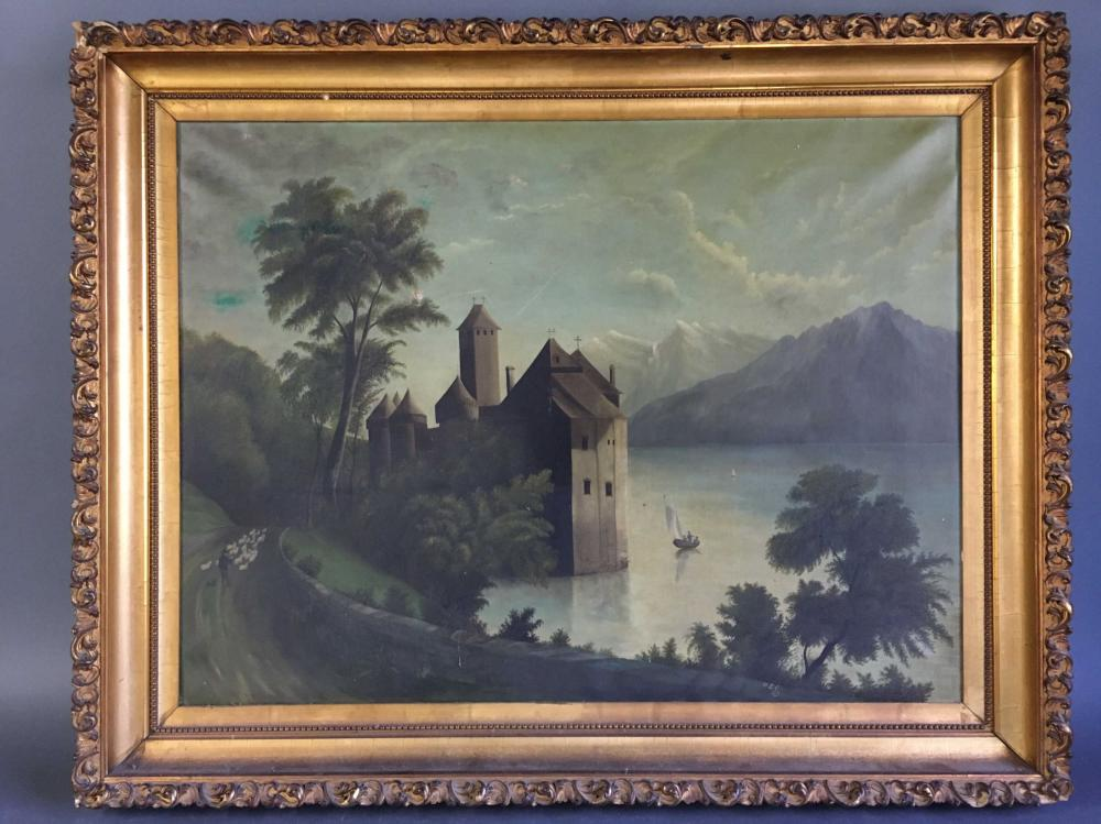 "Oil on canvas signed ""M.E.C."" 1876. Framed."