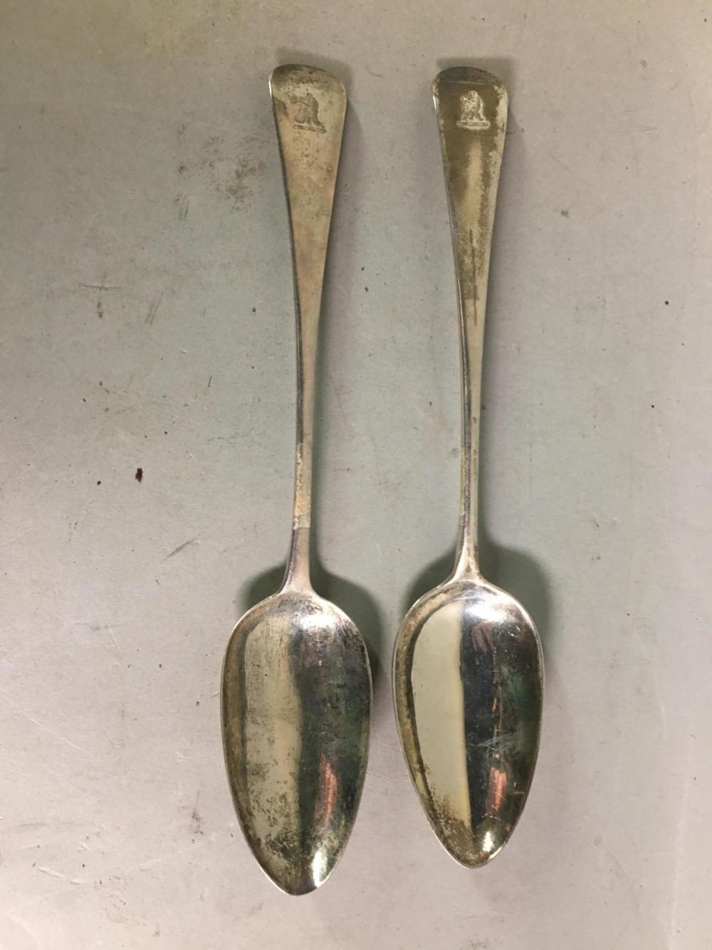 Two English Georgian London Sterling Silver Spoons
