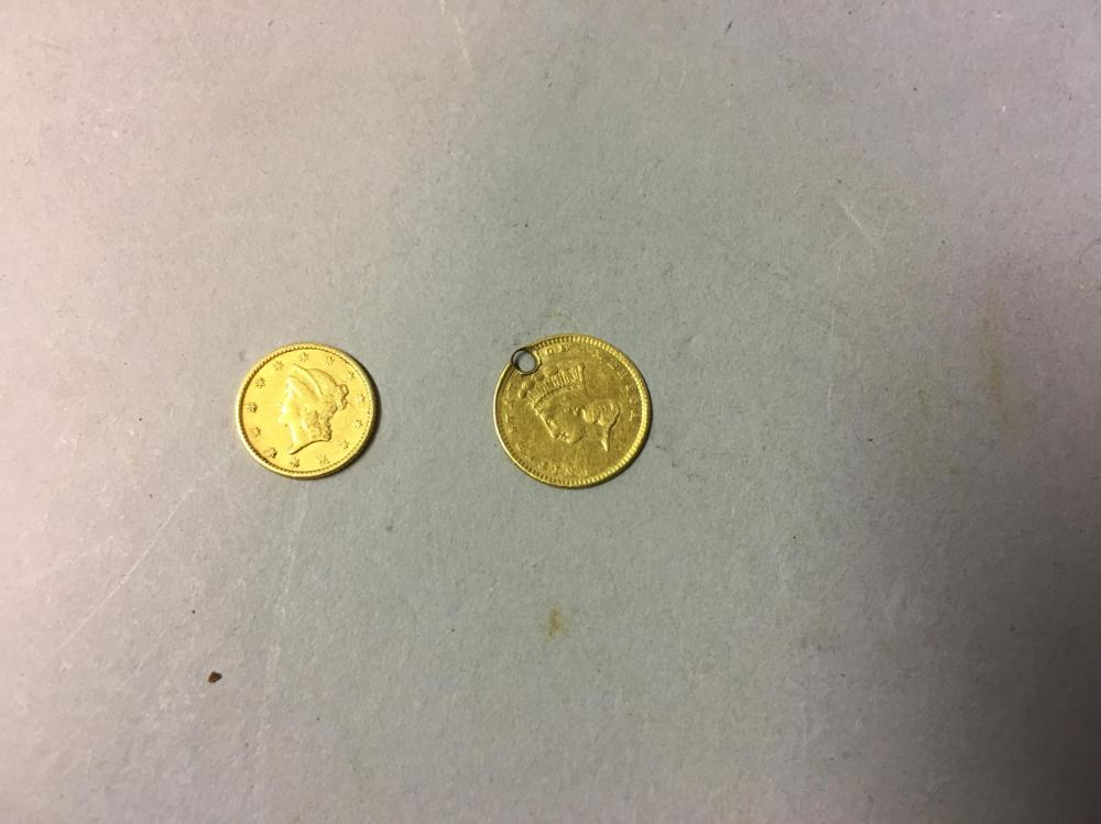 Two 19th United States Century Gold Dollars