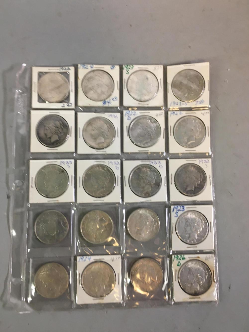 20 U.S. Peace Liberty Dollars 1921-1924
