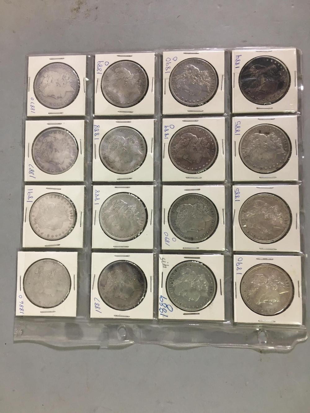 16 Gilded Age United States Silver Morgan Dollars