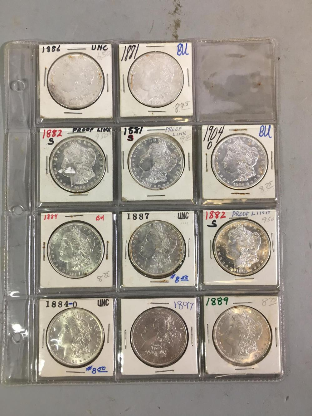 8 UNC, BU, & Proof Like Silver Morgan Dollars