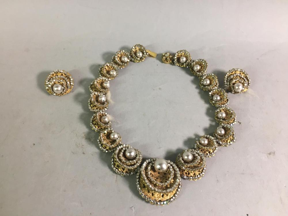 Vintage Miriam Haskell Necklace & Clip on Earrings