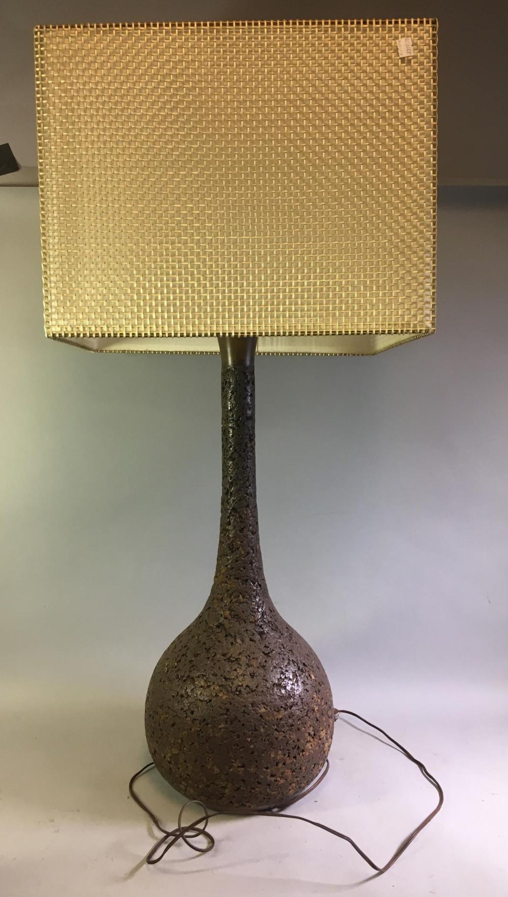 Mid Century Modern Cork Lamp w/ Shade