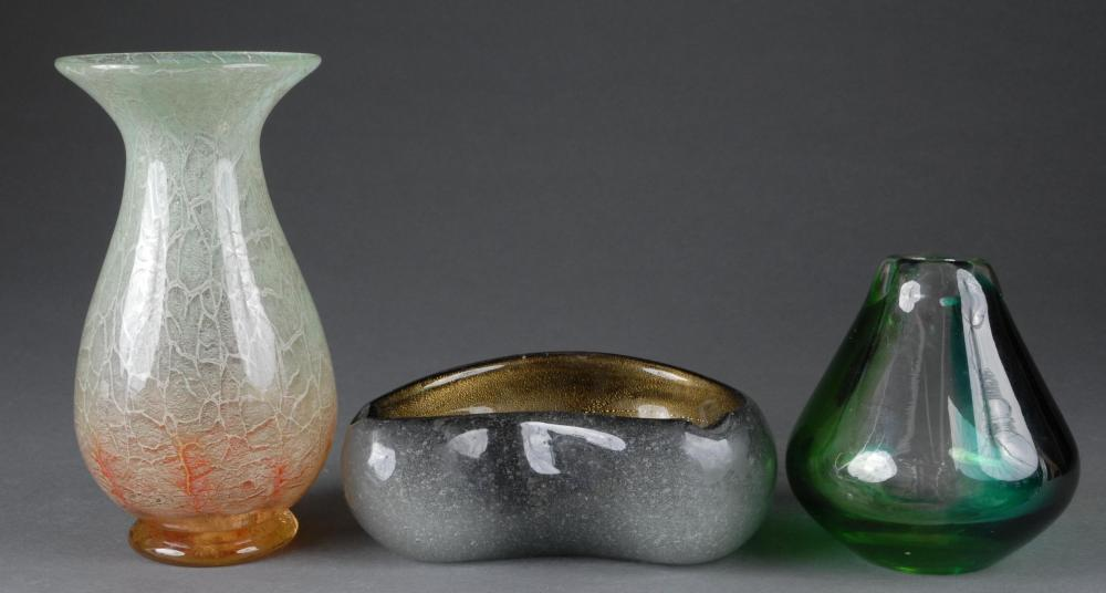 Three Pieces of Early 20th Art Glass