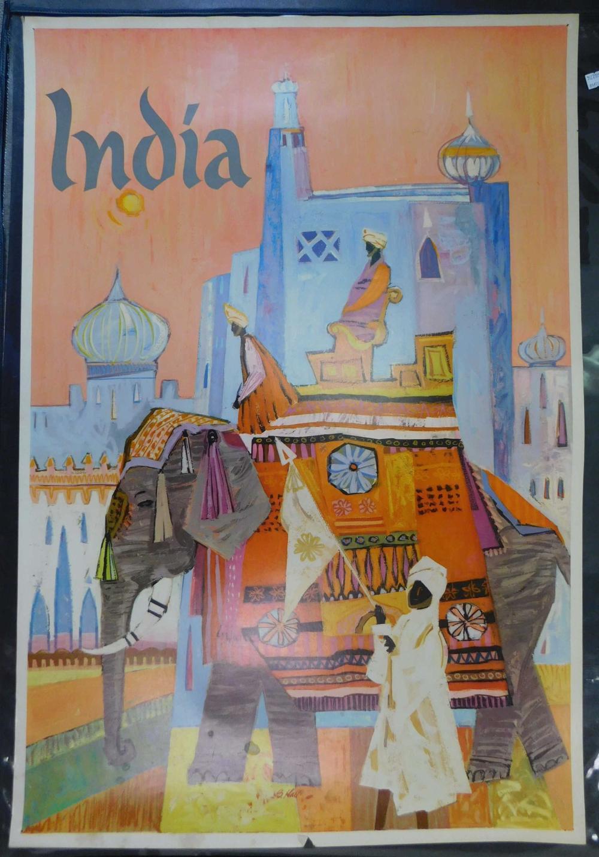 2 Vintage Travel Posters. India, Japan.