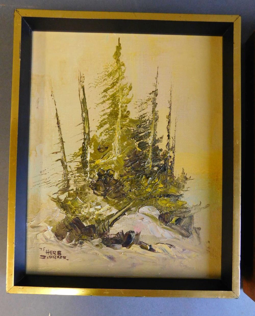 Herb Schraml. 3 signed oil paintings. Framed.