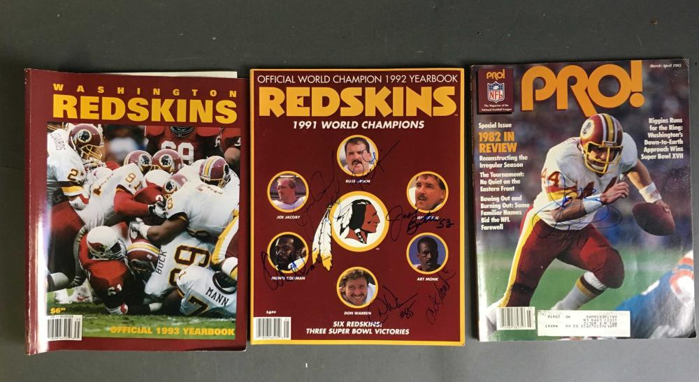 3 booklets/magazines signed by Redskins players.