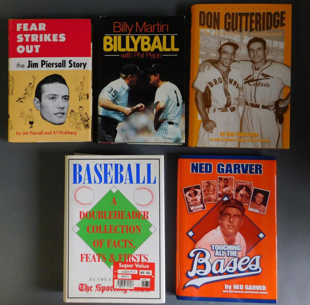 5 books signed by baseball players.