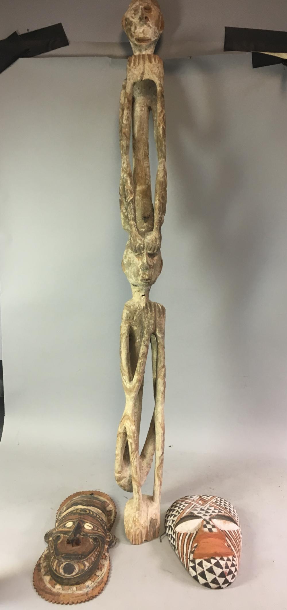 Large Ethnographic Wood Statue & Two Masks.