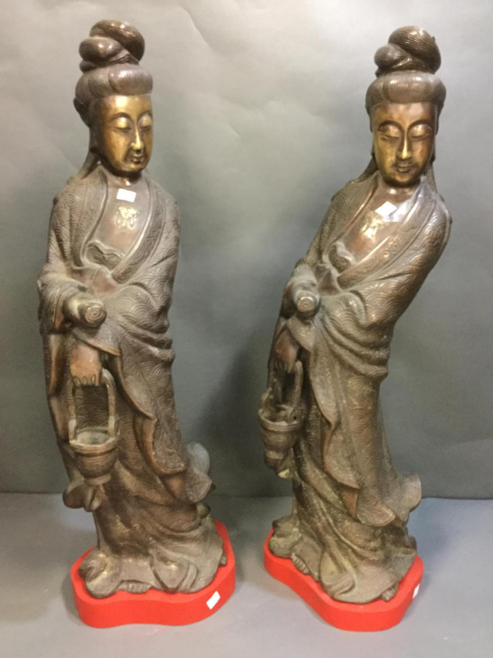 A Pair of Asian Bronze Female Figures.