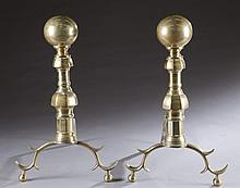 Brass Andirons, 19th century.