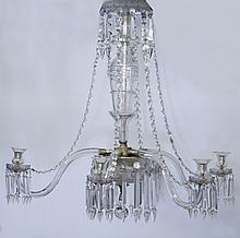 Regency style six light chandelier.
