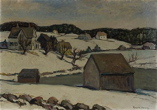 Cheney, Russell (Am., 1881 - 1945). Winter landscape with houses and barn beside a lake.