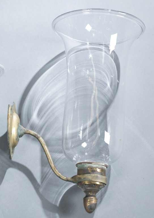 Wall Sconces Clear Glass : 4 Federal clear glass & brass shield wall sconces.