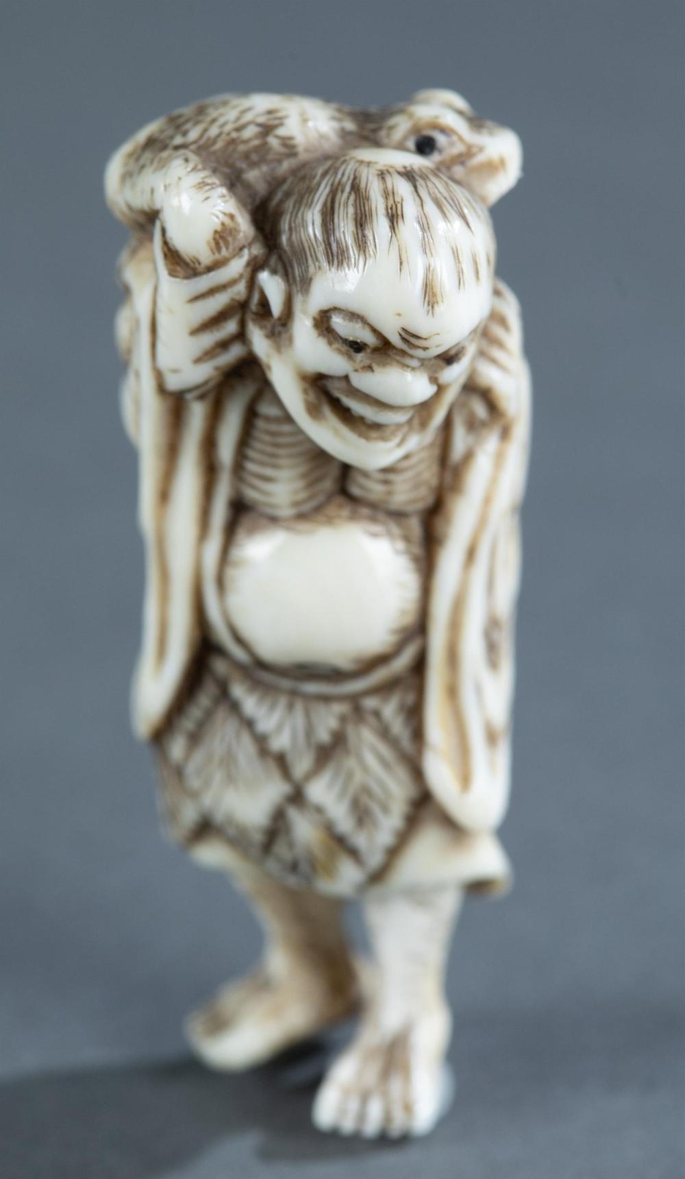 Ivory netsuke of a Gama Senin, 19th century.