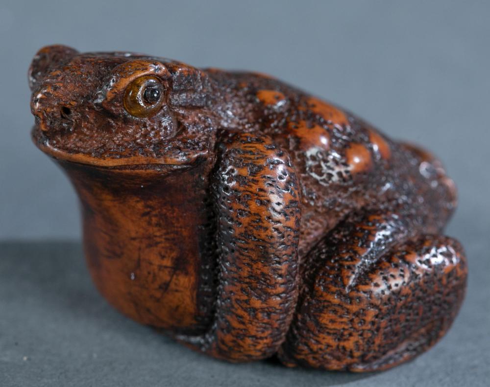 Masakazu: wood netsuke of toad, 19th century.