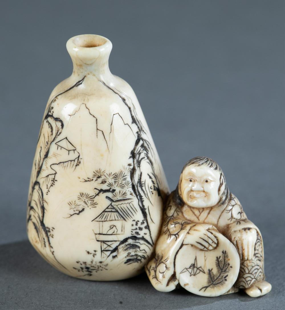 Masatsuga: ivory netsuke of woman. 19th century.