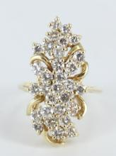 Yellow gold and diamond ladies cocktail ring.