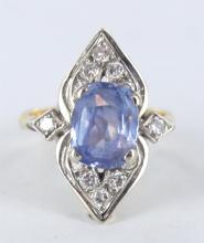 Ladies mixed metal and gemstone ring.