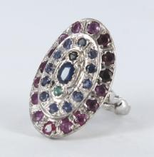 Ladies mixed gemstone cocktail ring.