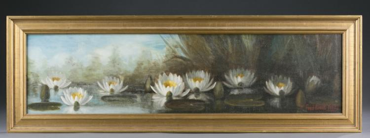 Fred Grant Young, painting of a water lily pond.