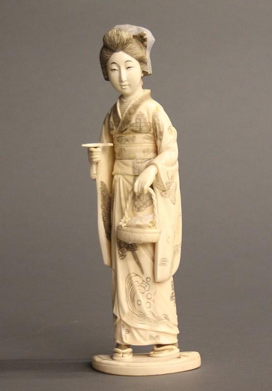 An Ivory Geisha In Kimono By Tamano