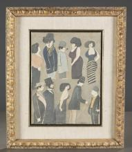 David Schneuer, Untitled, painting of 10 figures.