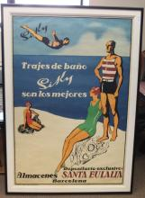 Vintage Spanish Barcelona travel poster.