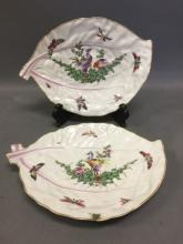Pair of hand painted Dr. Wall Worcester plates