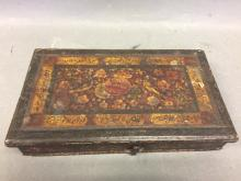 Antique portable balance scale in hand painted box