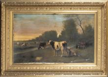 Hugh Bolton Jones, cows in pasture, O/C.