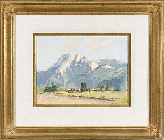Brown, Irby. (U.S. 1928 -- ). Mountain scene with town in foreground.