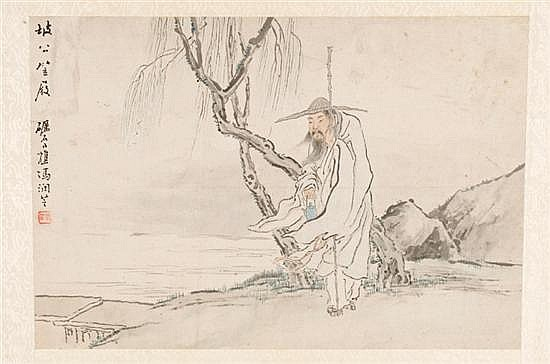 Chinese painting on old man, attributed to Feng Runzhi (China, 1851-1937).