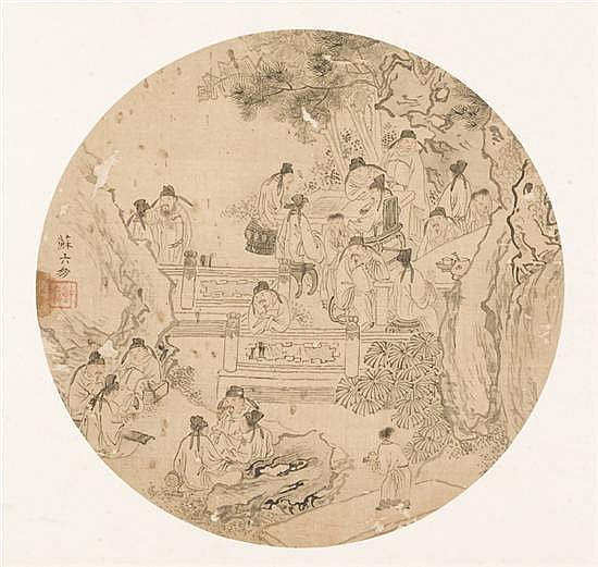 Su Liupeng (China, c.1790-1862) attributed. Round fan painting.