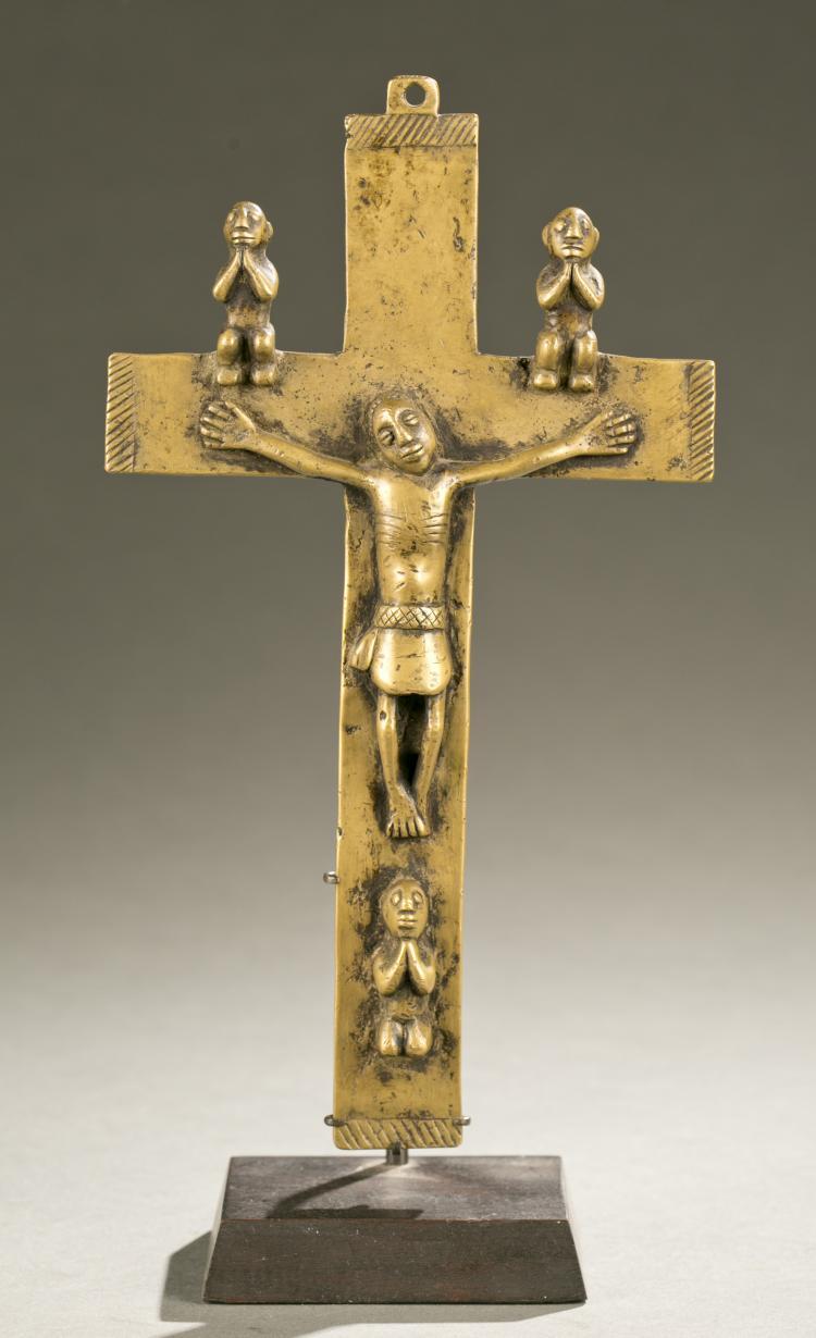 Kongo brass crucifix, 19th / 20th c.