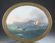 Emmanuel Meuris, Round sailboat on water, O/C.
