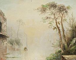 """James Salt, """"Venice"""", oil on canvas."""