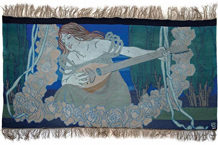 Hans Christiansen. Rare 'Frau Musica' tapestry,